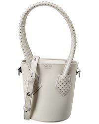 Salar Celia Dots Leather Bucket Bag - White