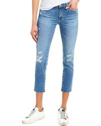 AG Jeans The Prima 16 Years Serenity Destructed Cigarette Crop - Blue