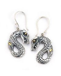 Samuel B. 18k & Silver Dragon Drop Earrings - Metallic