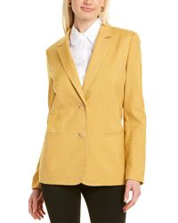 Lafayette 148 New York Briallen Linen-blend Blazer - Yellow