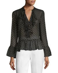 Plenty by Tracy Reese - Polka Dot Bell Sleeve Blouse - Lyst