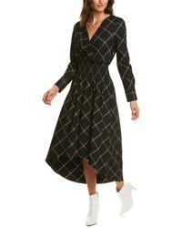 BCBGMAXAZRIA Windowpane Midi Dress - Black