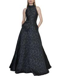 ML Monique Lhuillier Sleeveless Jacquard Gown - Black