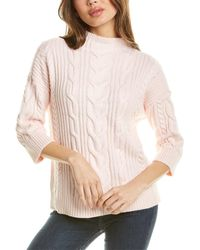 Vince Camuto - Elbow-sleeve Cable Stitch Sweater - Lyst