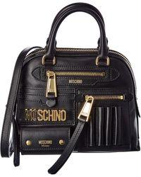 Moschino Logo Leather Satchel - Black