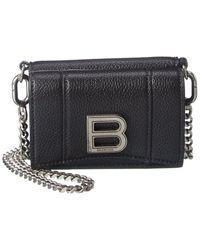 Balenciaga Leather Wallet On Chain - Black