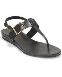 Cole Haan Francine Demi Leather Wedge Sandal - Black