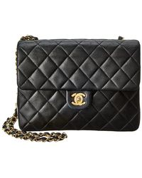 55383f5e65f5 Chanel - Black Quilted Lambskin Leather Mini Single Flap Bag - Lyst