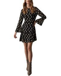 Reiss Yvette Jacquard Floral Dress - Black
