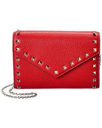 Valentino Valentino Garavani Rockstud Grainy Leather Wallet On Chain - Red