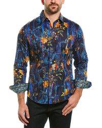 Robert Graham Cought Classic Fit Woven Shirt - Blue