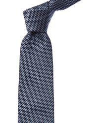 Brioni Blue Zigzag Silk Tie