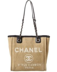 Chanel Beige Canvas Mini Deauville Tote - Natural
