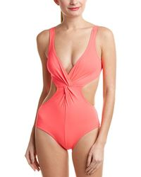 Shoshanna Plunging Cutout One-piece - Pink