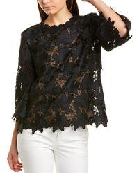 St. John Guipure Silk-lined Lace Top - Black