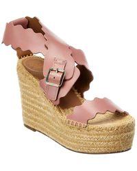Chloé Lauren Scalloped Leather Platform Wedge Sandal - Pink