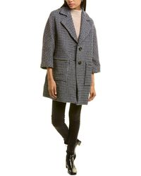 Maje Garly Wool-blend Coat - Blue