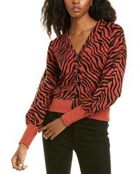 Minnie Rose Puff Sleeve Cardigan - Brown