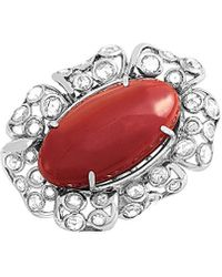 Heritage 18k 2.25 Ct. Tw. Diamond & Coral Ring - Red