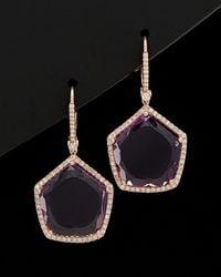 Meira T 14k 17.07 Ct. Tw. Diamond & Amethyst Earrings - Black