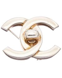Chanel Silver-tone Medium Turnlock Cc Pin - Metallic