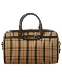 3082aa397cd2 Burberry - Medium 1983 Check Link   Leather Bowling Bag - Lyst