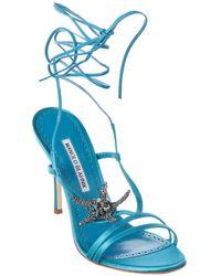 Manolo Blahnik Bucu 105 Satin Sandal - Blue