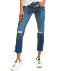 Rag & Bone Dre Ripped Slim Boyfriend Jeans - Blue