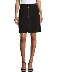 Karl Lagerfeld Paris Classic Full Zip Pencil Skirt - Black
