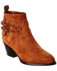 Valentino Rockstud Cowboy Split Leather Bootie - Brown