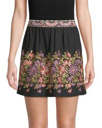 Anna Sui - Daisy Embroidered Mini Skirt - Lyst