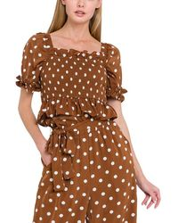 English Factory Smocked Top - Brown