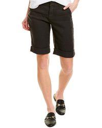 NYDJ Black Linen-blend Bermuda Short