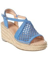 Franco Sarto Celestial Leather Wedge Sandal - Blue