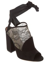 Tabitha Simmons Regina Lace & Suede Ankle-wrap Sandal - Black