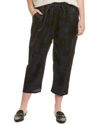 Eileen Fisher Plus Slouchy Silk-blend Crop Pant - Blue