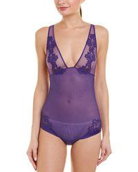 La Perla Silk-blend Bodysuit - Purple