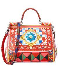 b88e0efa15 Dolce   Gabbana - Sicily Medium Mambo Print Leather Satchel - Lyst