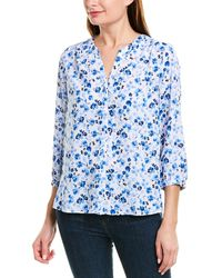 NYDJ 3/4-sleeve Pintuck Blouse - Blue