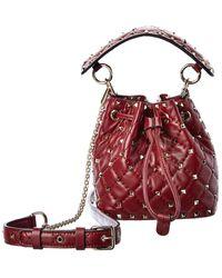 Valentino Garavani Rockstud Mini Leather Bucket Bag - Red