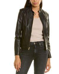 Cole Haan Zip Front Leather Jacket - Black