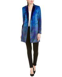 Elie Tahari Leather-trim Coat - Blue