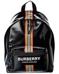 Burberry Logo Icon Stripe Backpack - Black