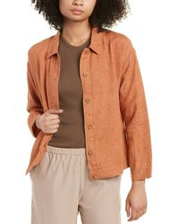 Eileen Fisher Classic Collar Linen Jacket - Brown