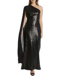 Tahari One-shoulder Gown - Black