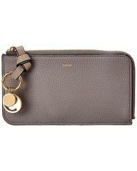 Chloé Leather Card Holder - Gray