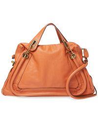 Chloé Orange Leather Medium Paraty Satchel