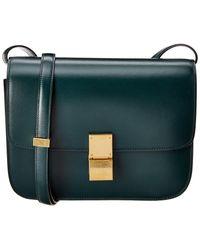 Celine Classic Medium Leather Shoulder Bag - Green