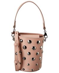 Salar Celia Moon Leather Bucket Bag - Pink
