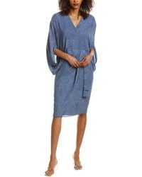 Halston Draped Sleeve Mini Dress - Blue